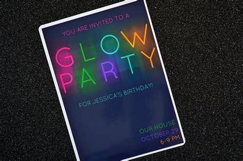 hp card and invitation kit template glow in the invitations myprintly
