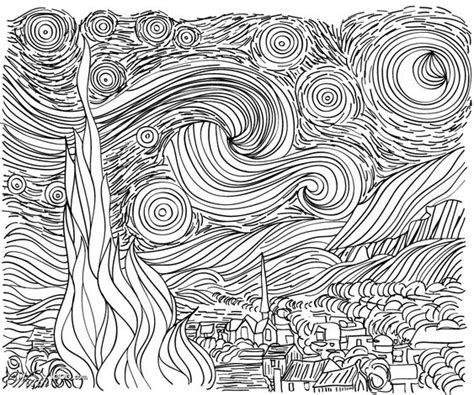 how to draw starry night step by step art pop culture line drawing starry night van gogh could use as a