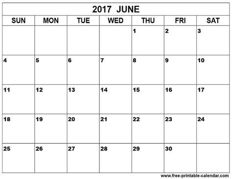 Printable June 2017 Calendar