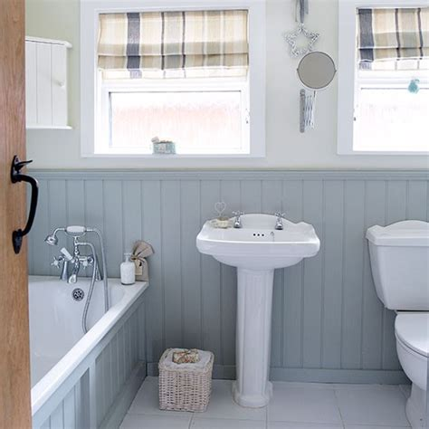 Panelled Bathroom Ideas | grey and white country bathroom with wall panels