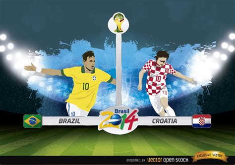 brazil vs croatia match brazil 2014 vector