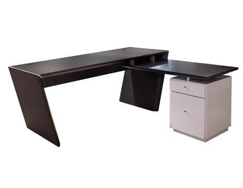 L Desk Modern Modern L Shaped Office Desk In Wenge Gray Lacquer With Optional Cred Officedesk
