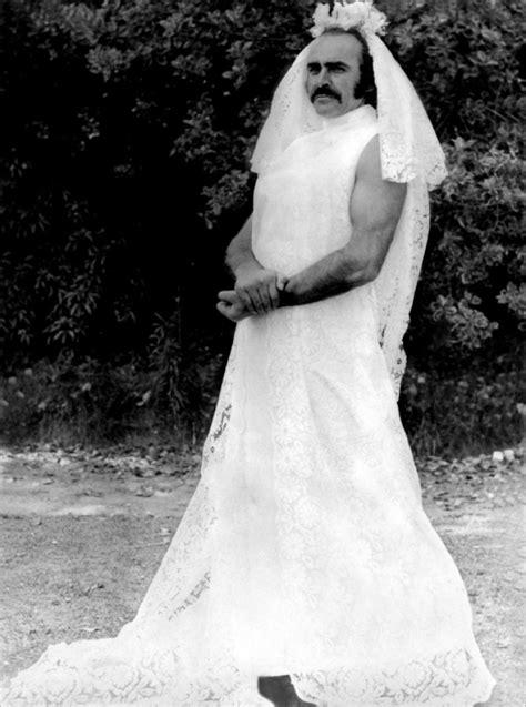 Wedding Dress Meme - sean connery with horseshoe moustache in wedding dress wtf