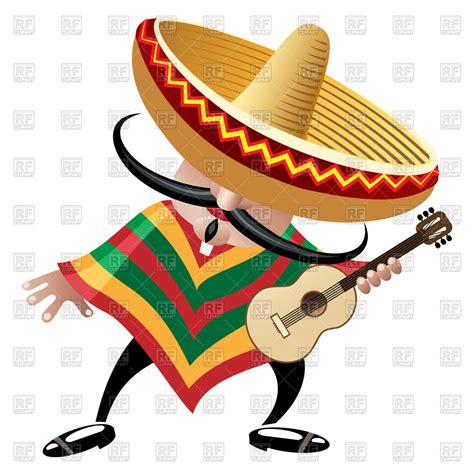 cartoon sombrero cartoon mexican musician in sombrero with guitar royalty