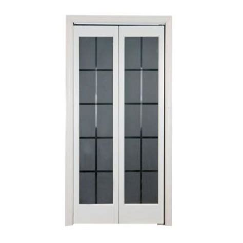 Glass Closet Doors Home Depot with Pinecroft Colonial Glass Wood Universal Reversible Interior Bi Fold Door 873726wt The Home Depot