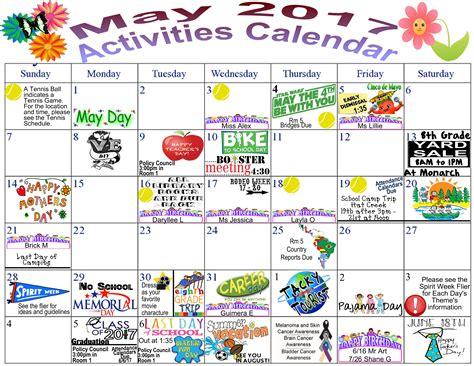 activities calendar monarch charter school