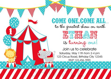 printable birthday invitations carnival theme circus party invitations template best template collection