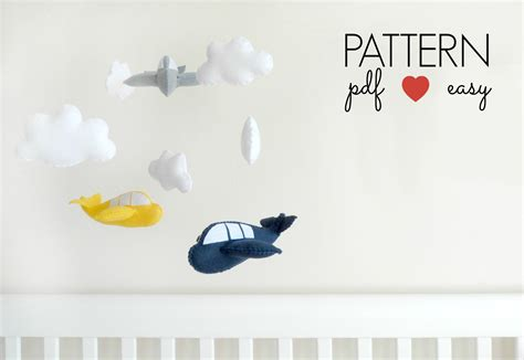 felt pattern mobile felt airplane sewing pattern easy sewing pattern boys