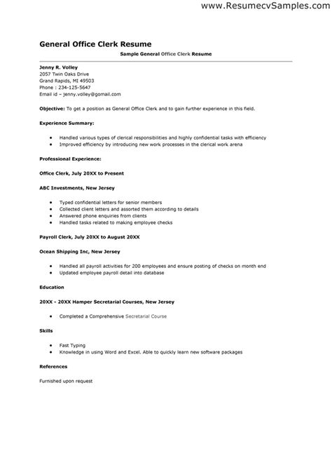 office clerk resume exle best photos of office clerk resume templates general