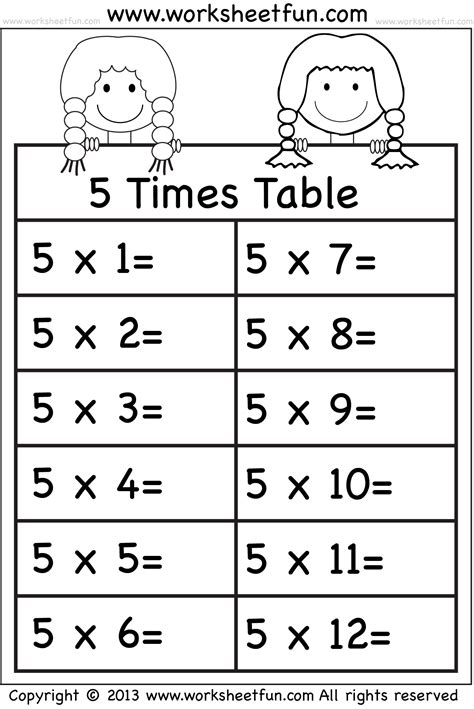 5 times table worksheet times tables worksheets 2 3 4 5 6 7 8 9 10 11