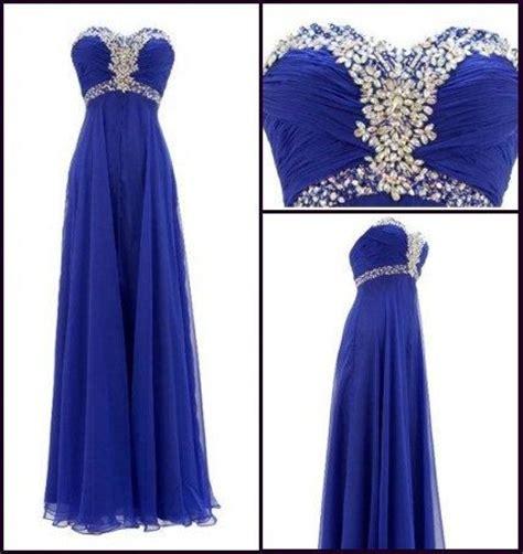 Marina Longdress Bisa Custom royal blue crystals chiffon prom dress empire by