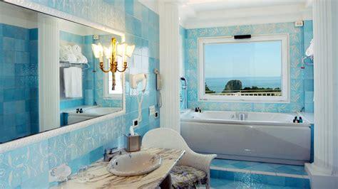 bright blue bathroom accessories grand hotel quisisana cania italy