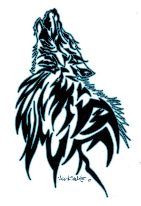 cool roaring wolf face tribal stencil tattoo