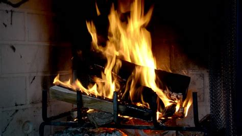 Roaring Fireplace by Fireplace With Roaring Wood Stock Footage