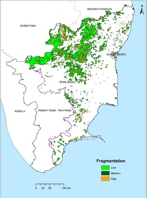 eastern and ghats qualitative forest fragmentation map of eastern ghats and