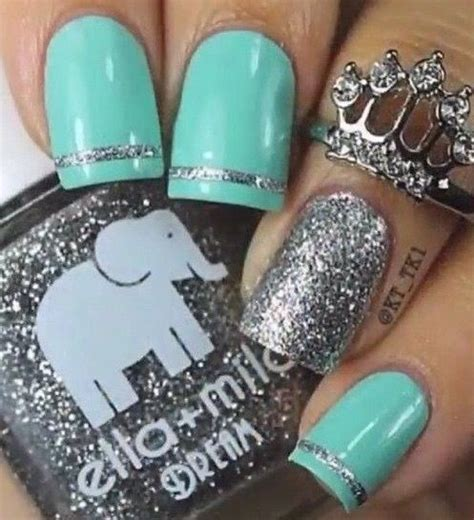 tiffany blue office on pinterest pedicure salon ideas tiffany blue silver glitter nails nails pinterest