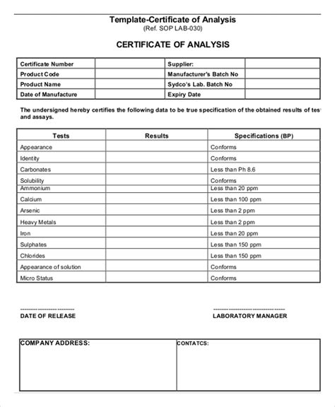 Certificate Of Analysis Template Sarahepps Com Certificate Of Analysis Fda Template