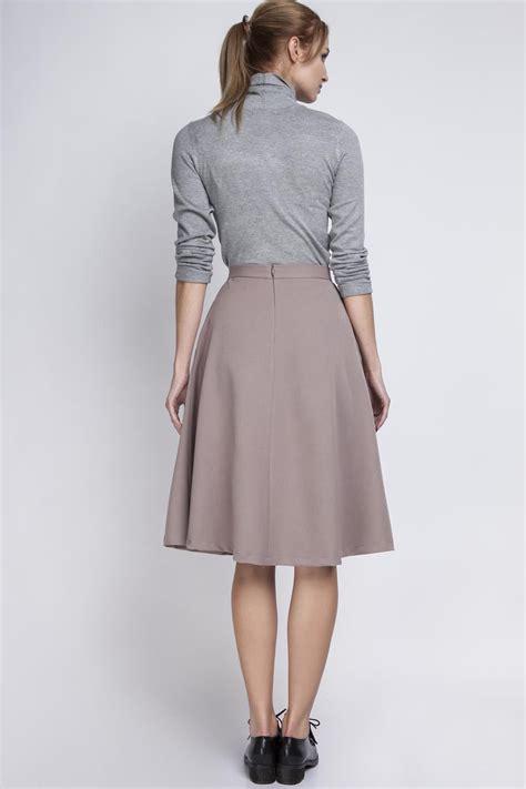 beige pleated midi skirt with back zipper