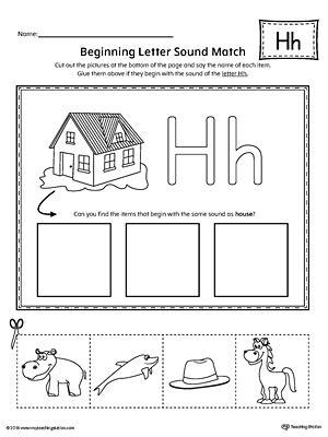 letter h beginning sound picture match worksheet