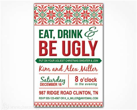 Free Printable Ugly Christmas Sweater Party Invitations Happy Holidays Sweater Invitation Templates Free