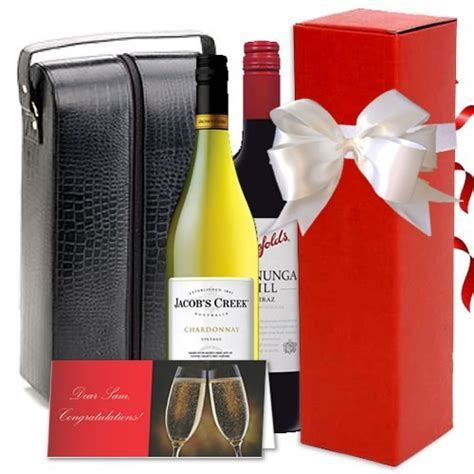 Twin Wine Leather Bag Gift Set   Red Wrappings
