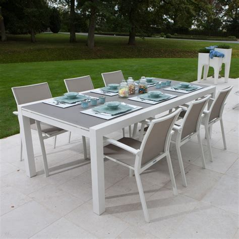 salon de jardin aluminium 421 table jardin verre aluminium