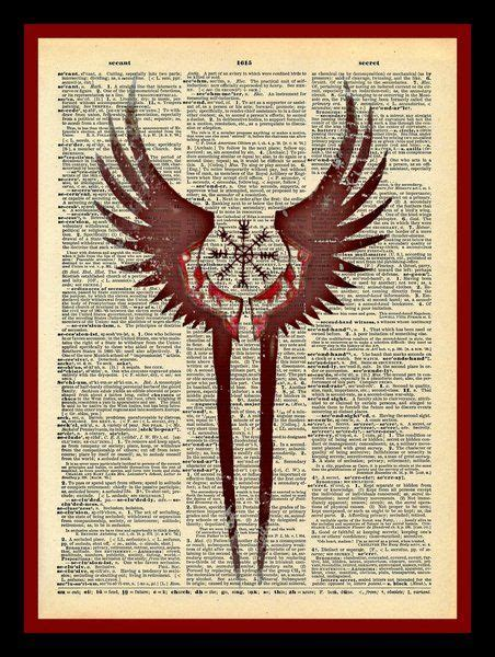 valkyrie wings tattoo valkyrie wings protection symbol print vintage dictionary