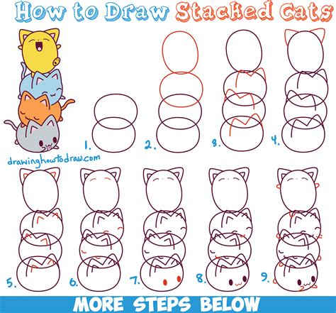 cat step step how to draw kawaii cats stacked on top of each other