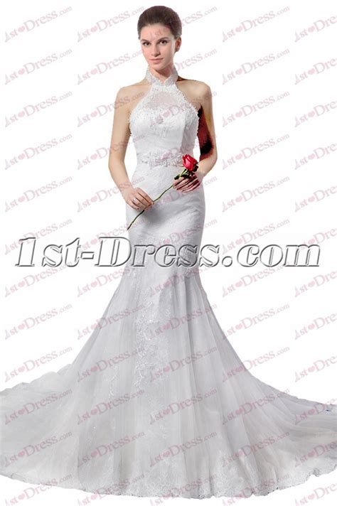 Halter Lace Sheath Dress halter sheath lace wedding dress 2017 1st dress
