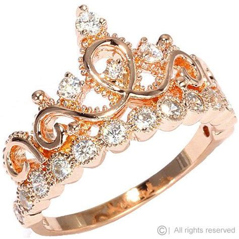 argento placcato in oro rosa corona anello ring princess