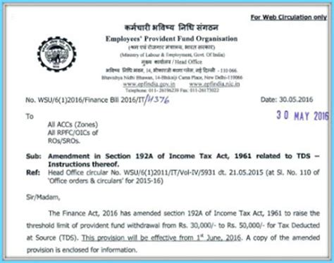 Withdrawal Allowance Letter Welcome To Ca Groups Epf Withdrawals New Provisions Related To Tds