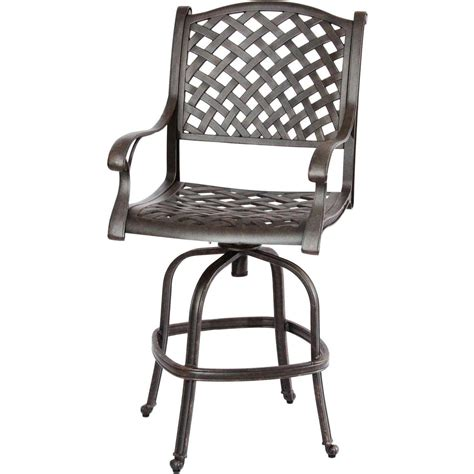 Darlee Nassau Cast Aluminum Patio Swivel Bar Stool Bar Swivel Chairs