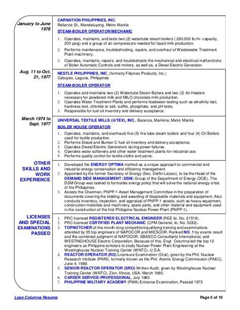 Boiler Plant Operator Sle Resume by Lope Columna Comprehensive Resume 3