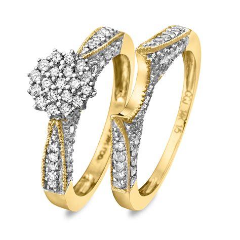 3 4 carat diamond bridal wedding ring set 14k yellow gold my trio rings br103y14k
