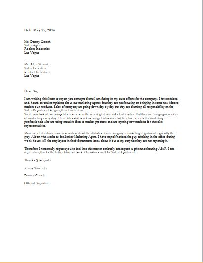 grievance letter template grievance letter template for word doc word excel