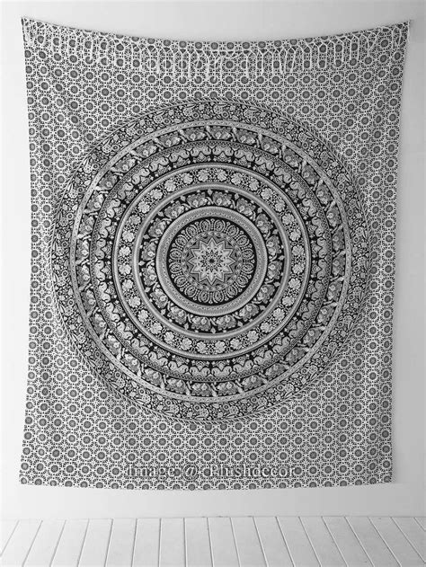 amazoncom black  white tapestries elephant mandala