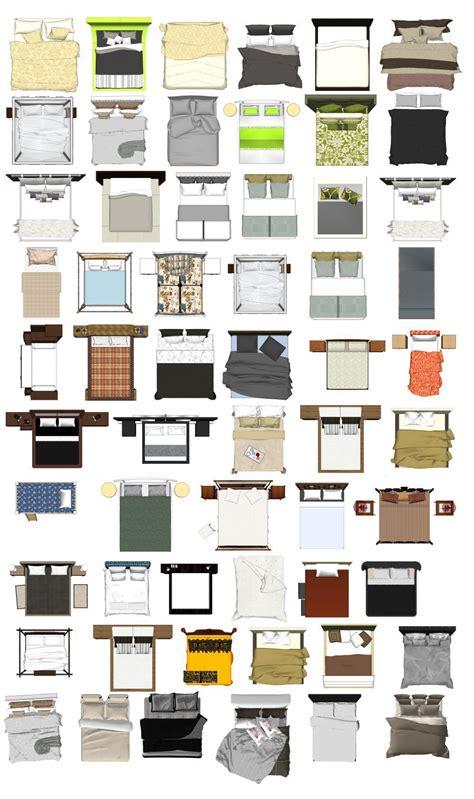 photoshop psd bed blocks  interior design plan
