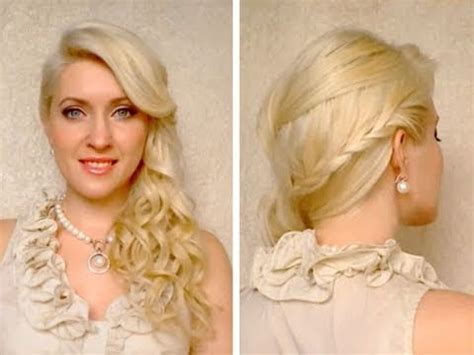 side swept braided hairstyle with curls for prom wedding frisuren mit z 246 pfen f 252 r lange haare
