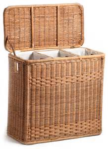 Wicker Laundry Hamper With Lid 3 Compartment Laundry Hamper Laundry Baskets