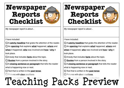 features of a newspaper by sherish teaching resources tes the newspaper reports pack