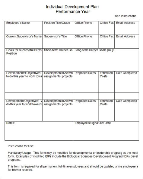 individual development plan template plan template