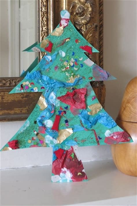 collage christmas tree craft for preschoolers preschool