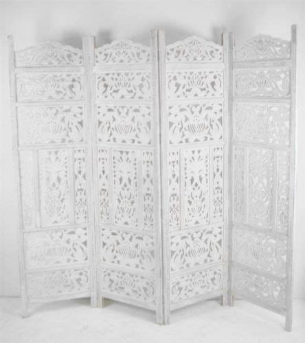 white room divider 4 panel carved wooden indian screen leaves design screen