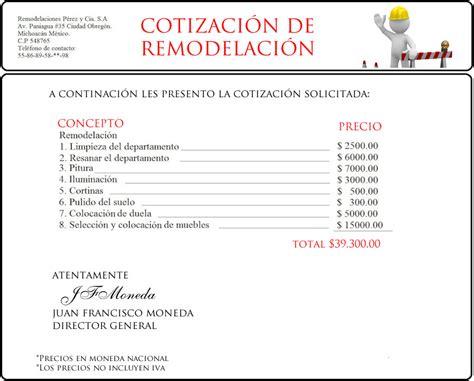 020 ejemplo de presupuesto mano de obra materiales y ejemplo presupuesto de obra carta de presupuesto de obra