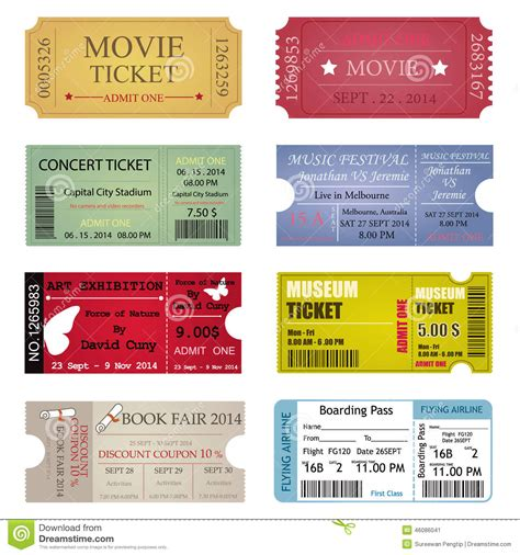 ticket design templates ticket template designs stock vector image 46086041
