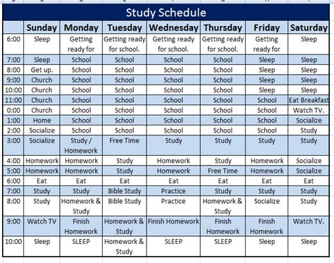 study schedule template designed perfectly for you to make