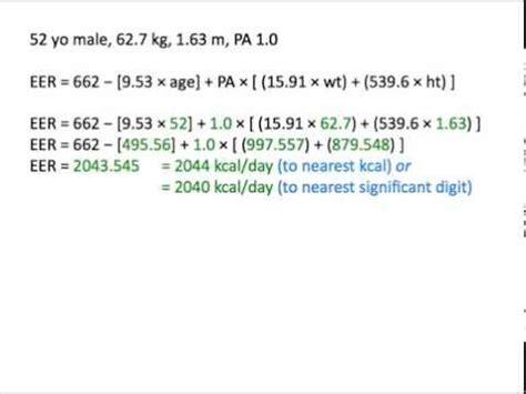 eer chart estimating energy needs using the eer equation