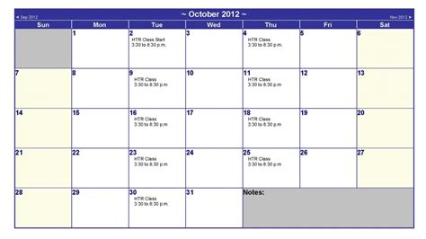 October 2012 Calendar October 2012 Calendar Htr Real Estate Academy
