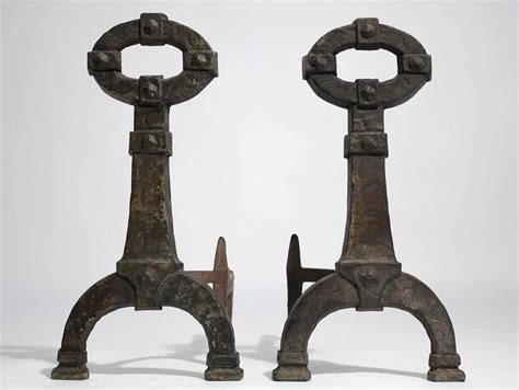 antique mission arts and crafts cast iron pair of andirons