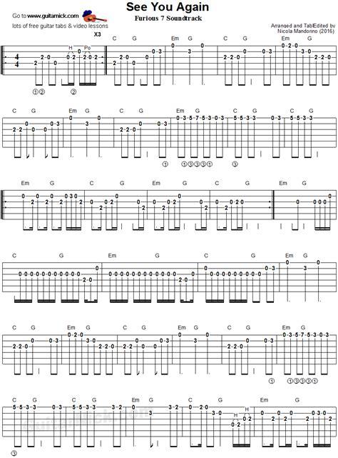tutorial guitar see you again see you again easy guitar tab guitarnick com